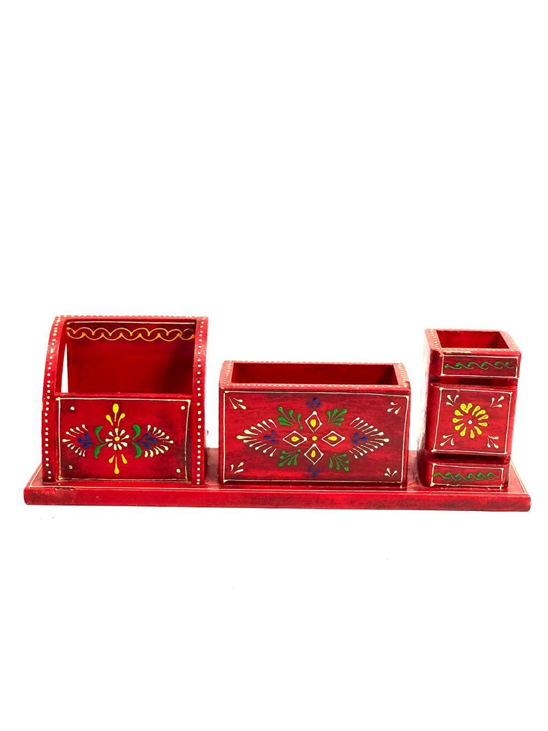 Hand Painted Wooden 3 IN 1 Combo Multipurpose Pen Holders Tamrapatra