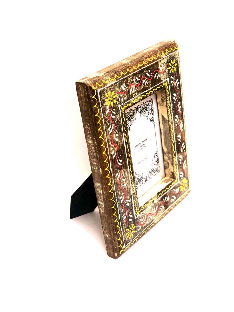 Traditional Multi Color Hand Painted Photo Frame Glass Front Tamrapatra