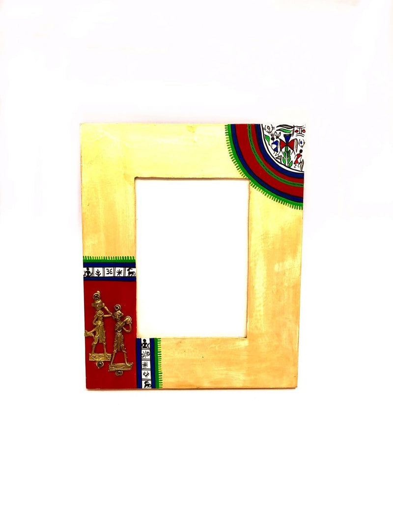 Warli Hand Painted Excellent Brass Dhokra Fitted Photo Frame Tamrapatra