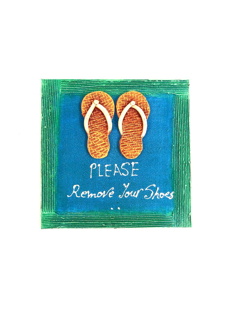 Please Remove Your Shoes Designer Terracotta MDF Hangings Tamrapatra