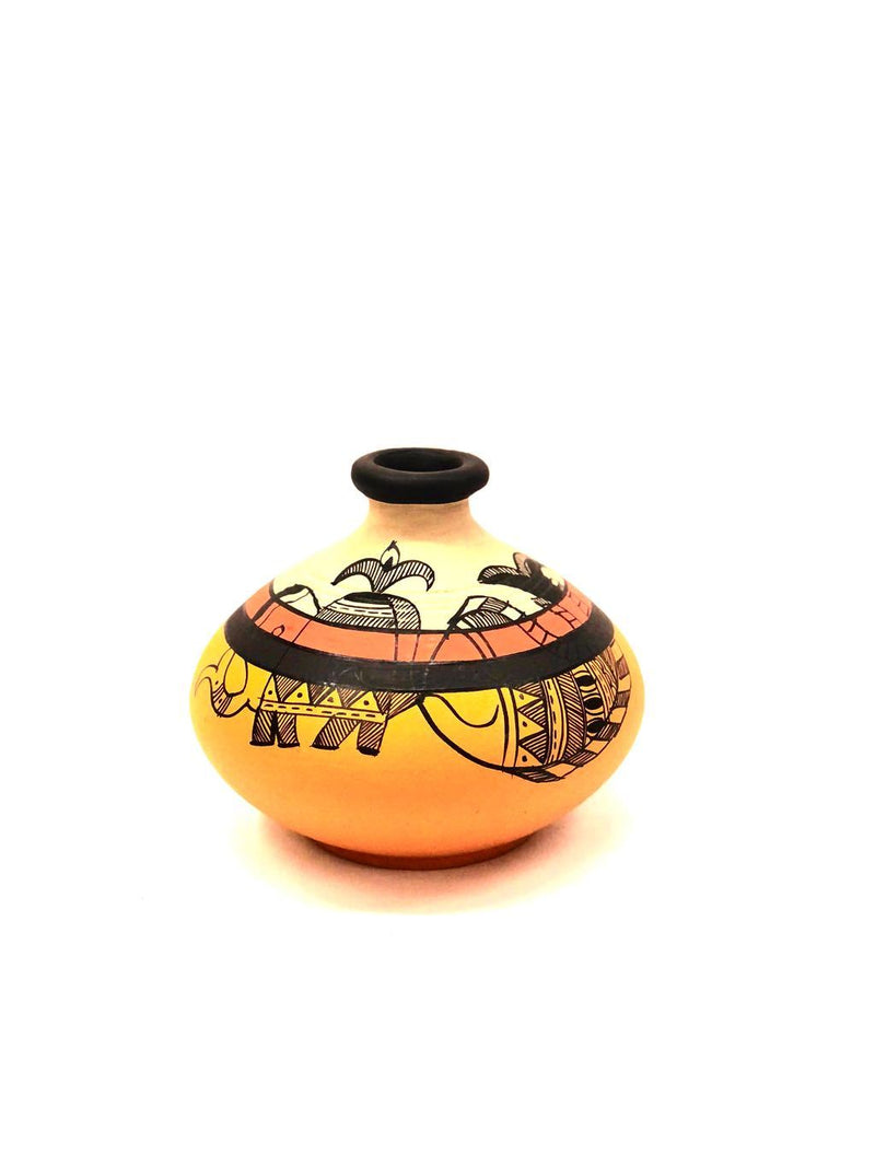 Flat Warli-Madhubani Pots Hand Painted Indian Art Collection Tamrapatra
