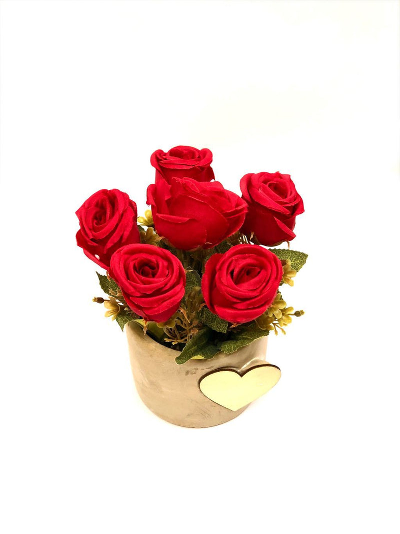 Heart Shaped Wood On Pot Rose Plant With Various Colours Gifting Tamrapatra