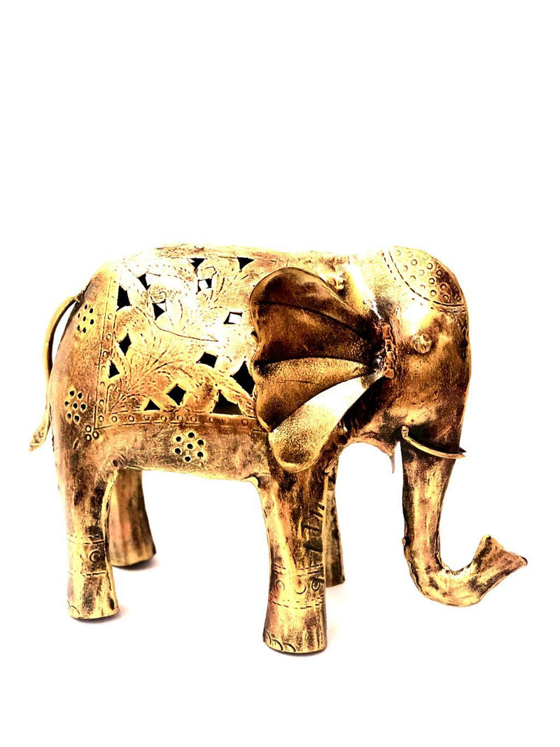 Elephant Excellent Metal Build Shadow Tea Light Decoration Tamrapatra - Tamrapatra