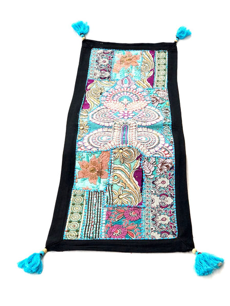 Handwork Indian Artisans Table Runner Tapestry Shades Of Blue Tamrapatra