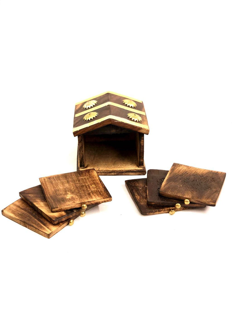 House Style Tea Coasters Wooden Finish Made By Indian Artisans Tamrapatra