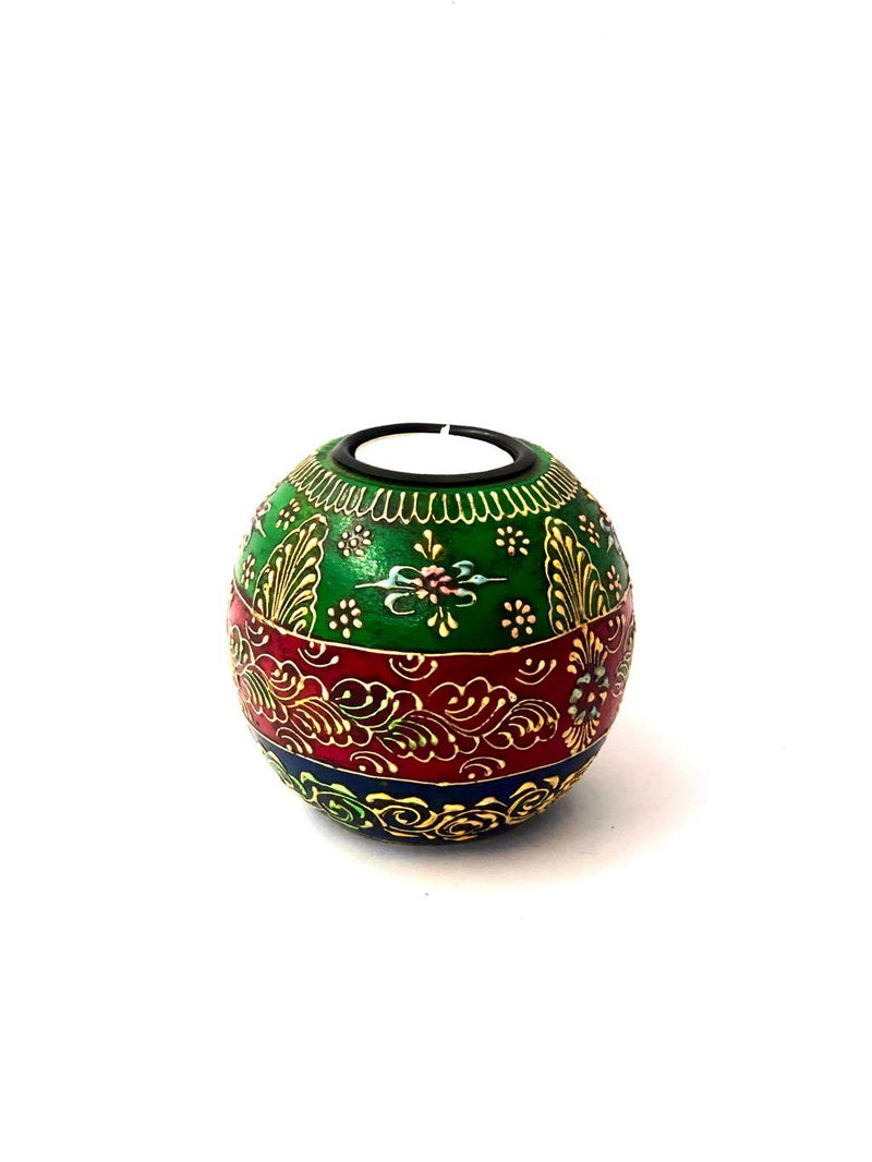 Ball MultiColor Hand Painted Extraordinary Tea Light Holder Tamrapatra - Tanariri Hastakala