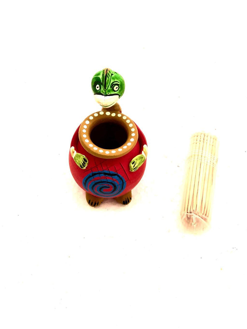 Creative Animal Style Hand Painted Terracotta Toothpick Holder Tamrapatra