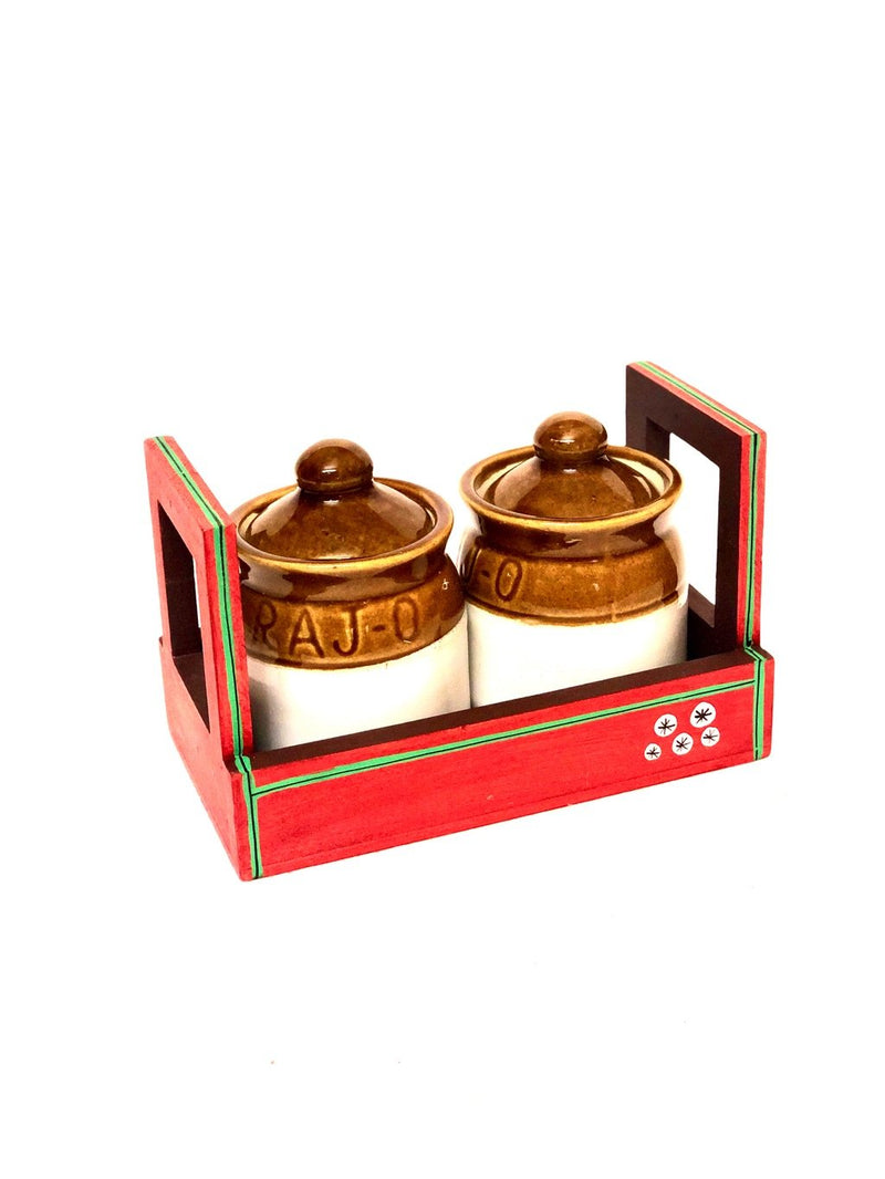 Bright Red Colored Tray With 2 Ceramic Pickle Jars Handmade Tamrapatra - Tanariri Hastakala