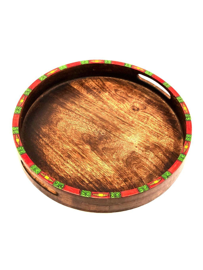 Beautiful Handcrafted Round Style Wooden Trays Wholeseller Tamrapatra - Tanariri Hastakala