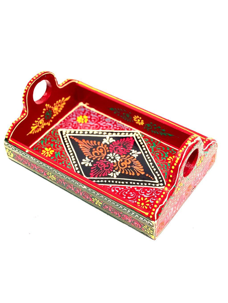Traditional Trays HandPainted Conework By Indian Artisans Tamrapatra - Tanariri Hastakala