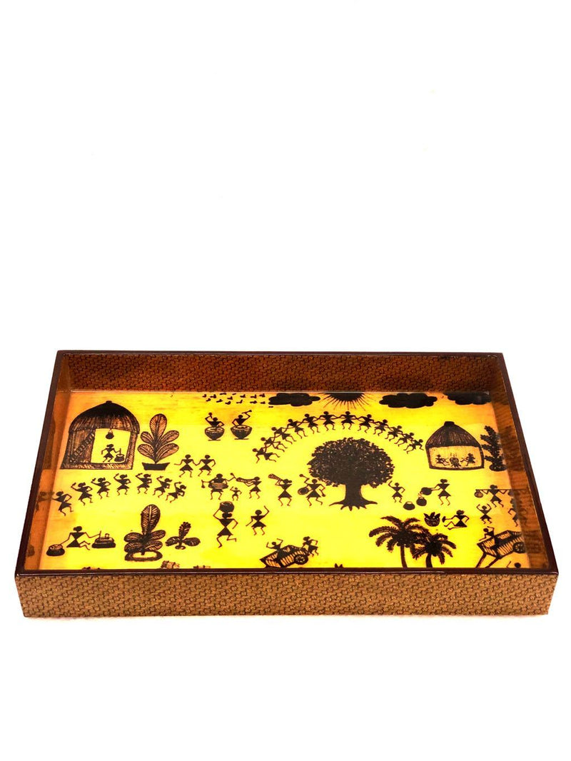Printed Wooden Laminated Trays Warli Theme Multipurpose Tamrapatra - Tanariri Hastakala