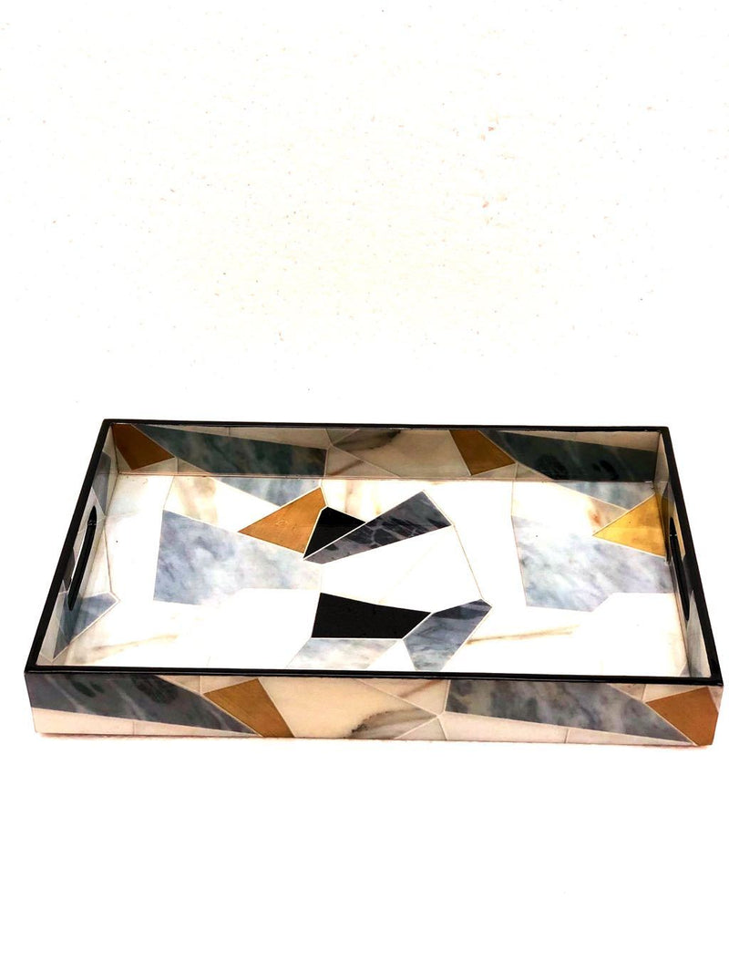 Tray With Geometrical Print Lamination Wooden Tray Supplier Tamrapatra - Tanariri Hastakala
