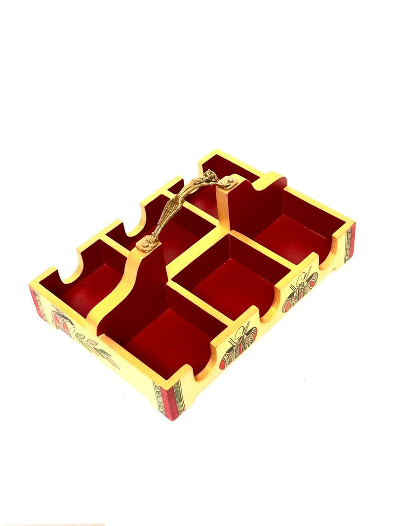 Cup Glass Holder Tray With Partition Painted Acrylic Colors Tamrapatra - Tanariri Hastakala