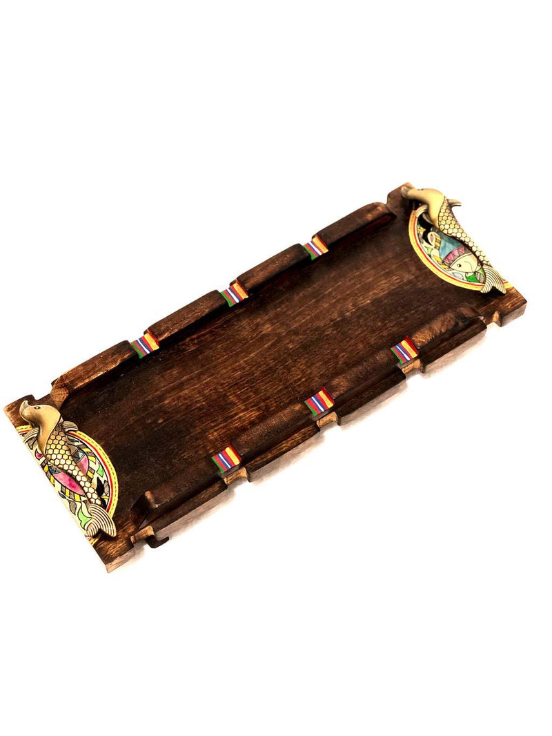 Classy Brown Wooden Tray With Stand Long HandPainted By Tamrapatra - Tanariri Hastakala