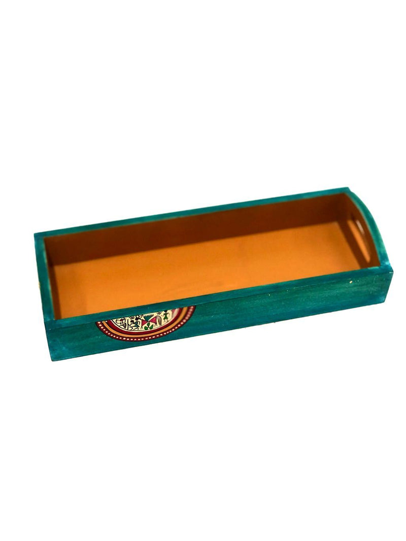 Wooden Long HandPainted Trays Multipurpose Traditional By Tamrapatra - Tanariri Hastakala