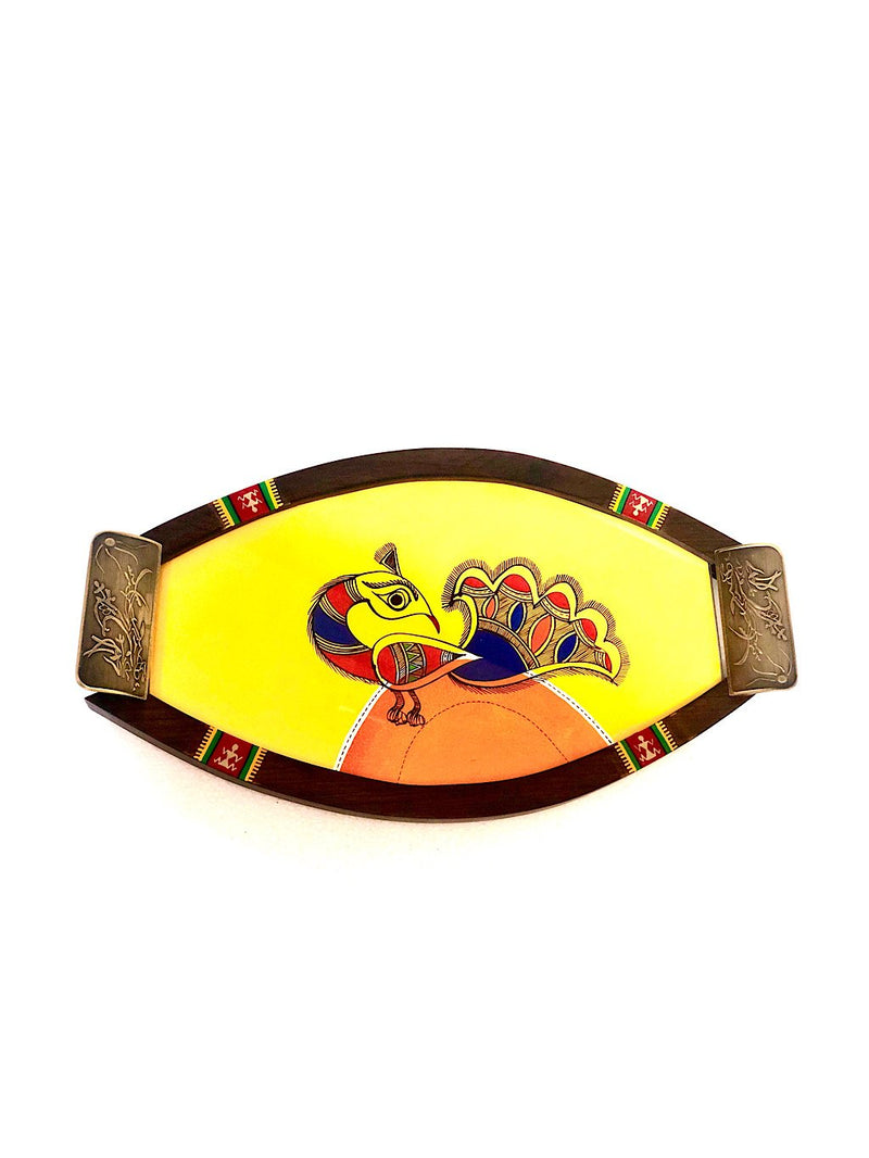 Exclusive HandPainted Tray New Design Oval Utility Multicolor Tamrapatra - Tanariri Hastakala