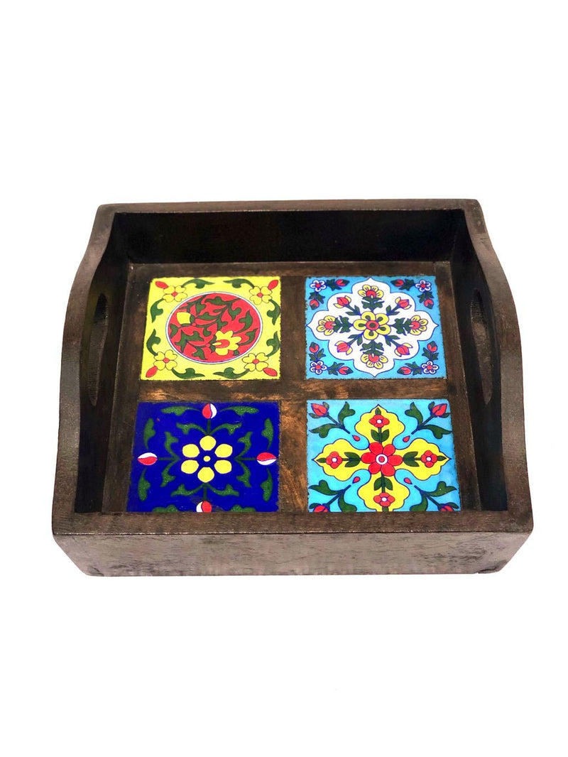 Blue Pottery Tiles Fitted On Strong Wooden Tray Home Decor By Tamrapatra - Tanariri Hastakala