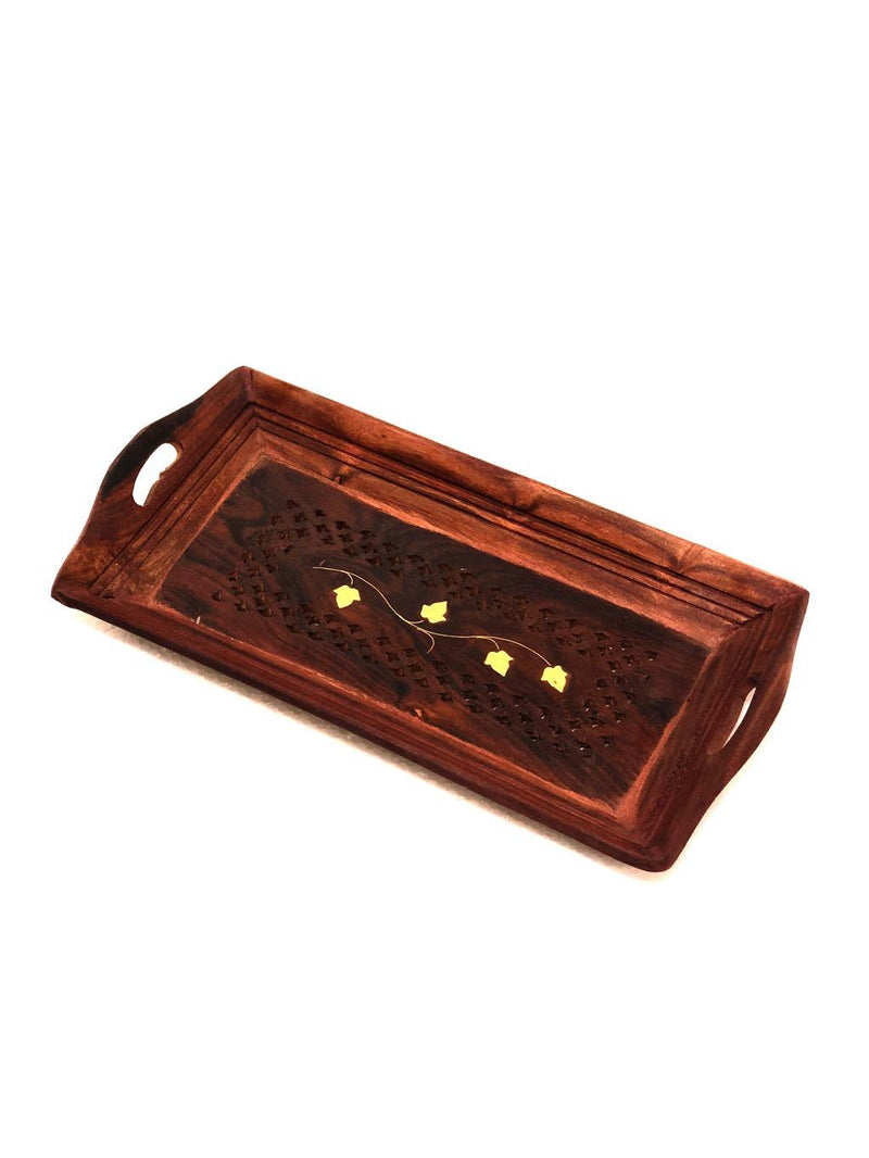 Wooden Carved Trays Simple Designer Utility Handcrafted By Tamrapatra - Tanariri Hastakala