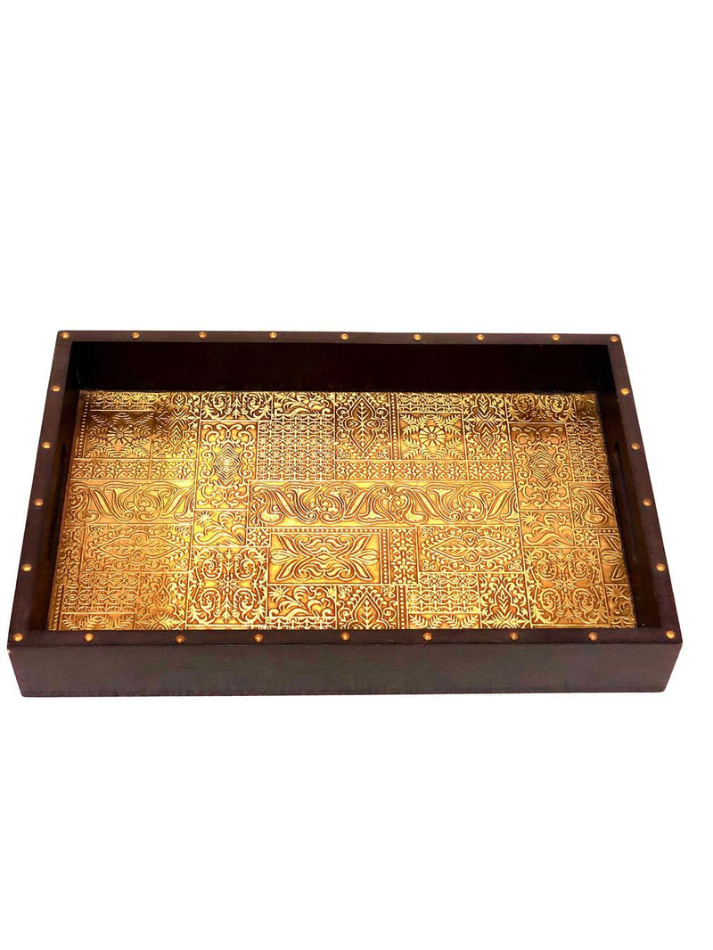 Limited Edition Brass Foil Fitted Premium Wooden Tray Home Decor Tamrapatra - Tanariri Hastakala