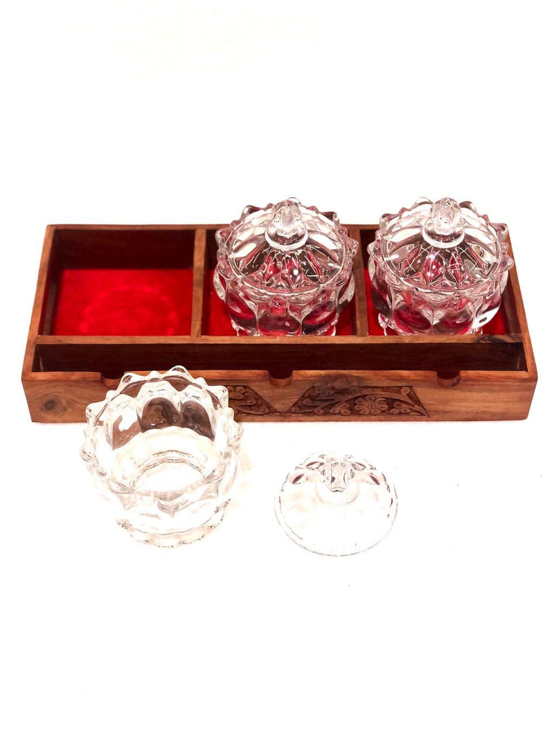 Tray Wooden Carved Velvet Finishing & Glass Jars Presented By Tamrapatra - Tanariri Hastakala