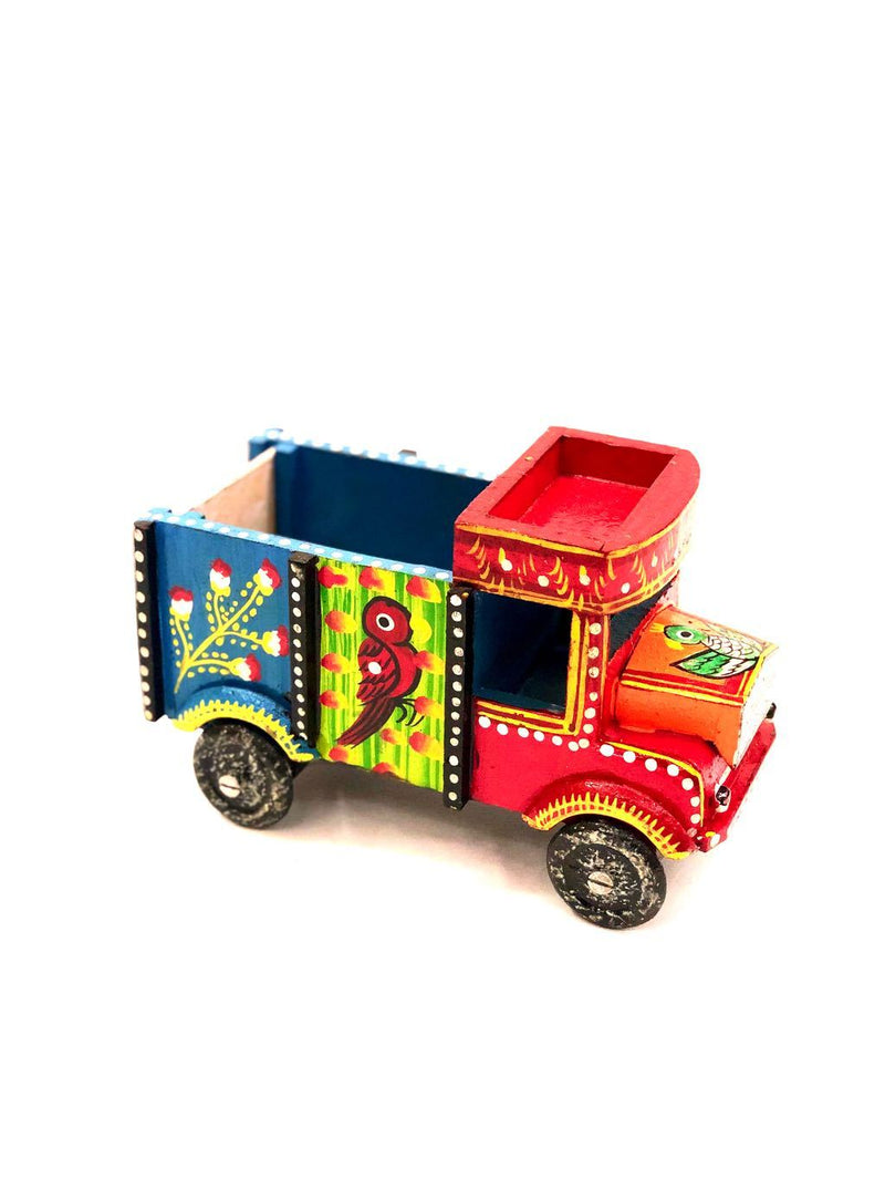 Truck HandPainted Contrast Colors Wooden Showpiece Supplier Tamrapatra - Tanariri Hastakala