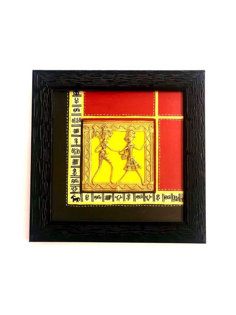 Warli Painting In Wooden Frame With Dhokra Home Decor Tamrapatra