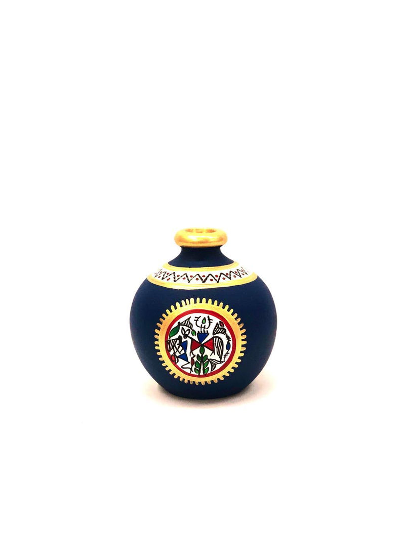 Terracotta Vase In Vibrant Blue Shades & Various Sizes From Tamrapatra