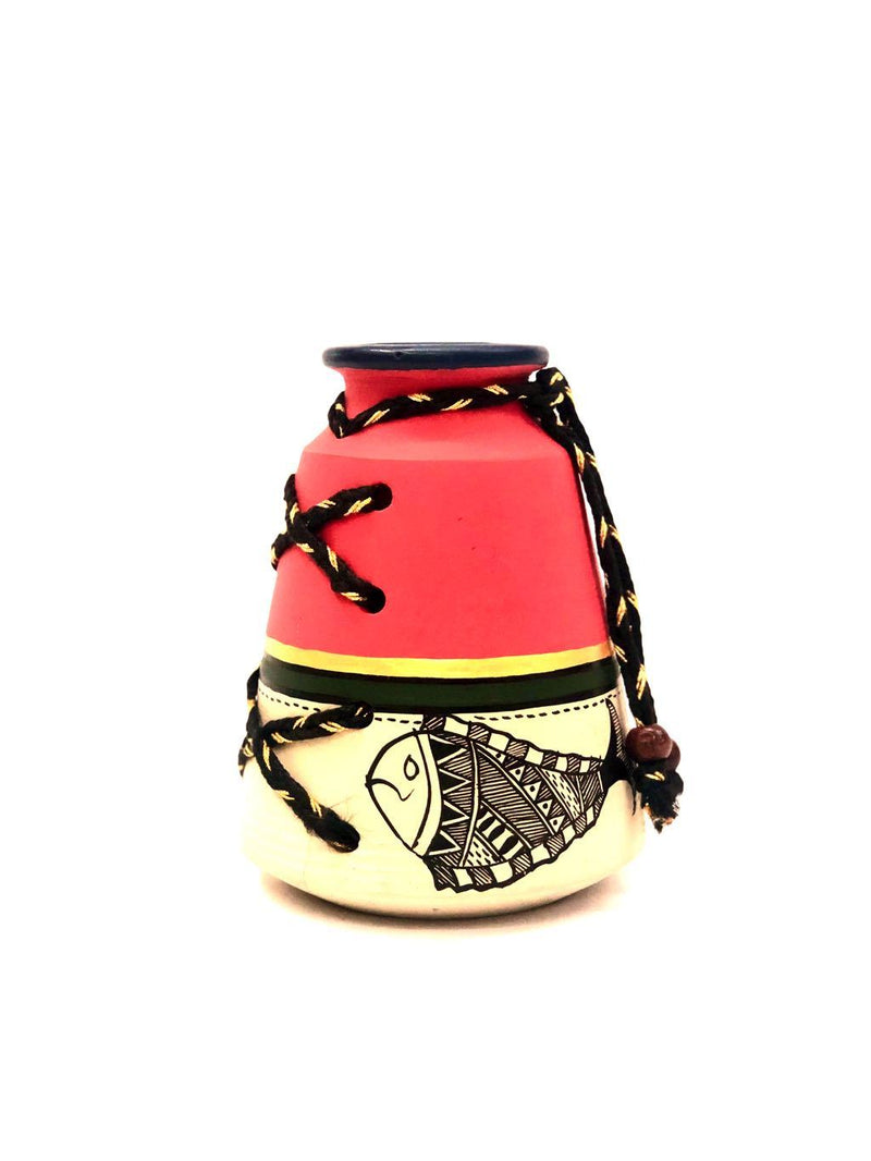Madhubani Painted Red Pot Threaded Style Pottery Decor By Tamrapatra - Tanariri Hastakala
