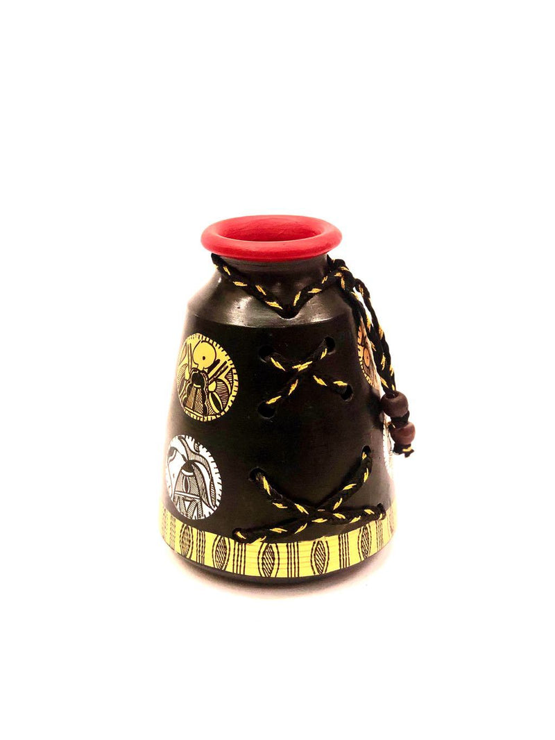Attractive Pottery Warli Pot Threaded Series Black Painted Tamrapatra