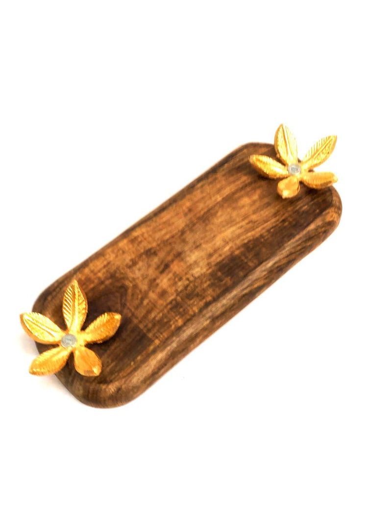 Wooden Platter With Metal Flower Petals Stand For Home Utility Tamrapatra
