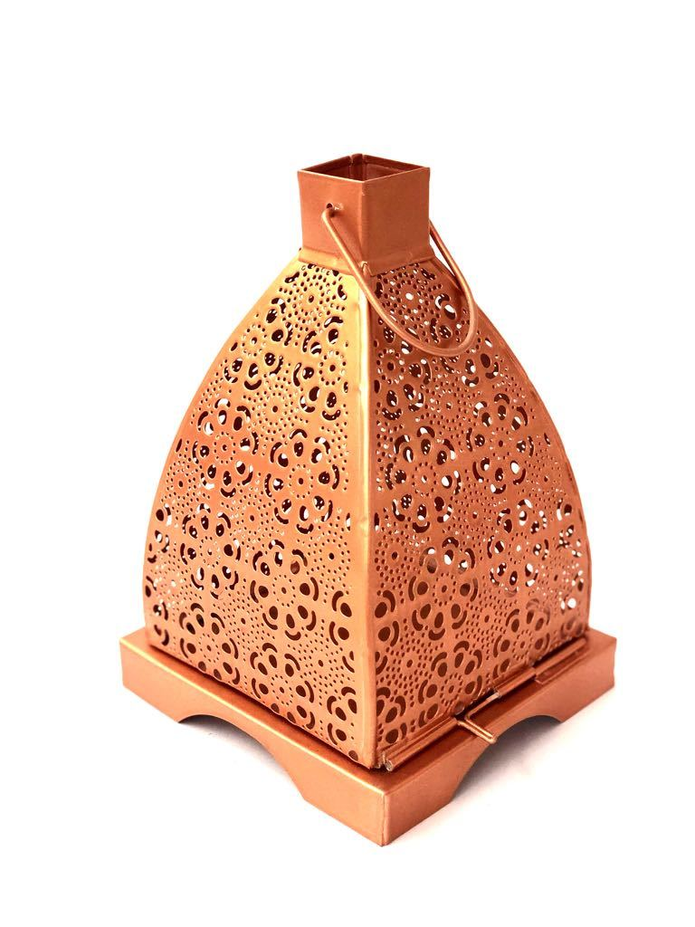 Floral Shadow Tea Light Holder Metal Lantern Hanging Tamrapatra - Tanariri Hastakala