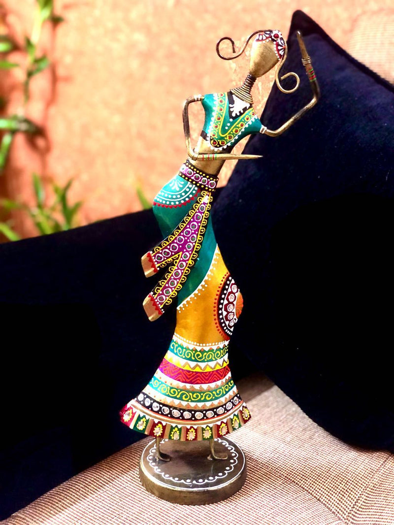 Long Lady In Colourful Attire Classical Dancing  Metal Tamrapatra - Tanariri Hastakala