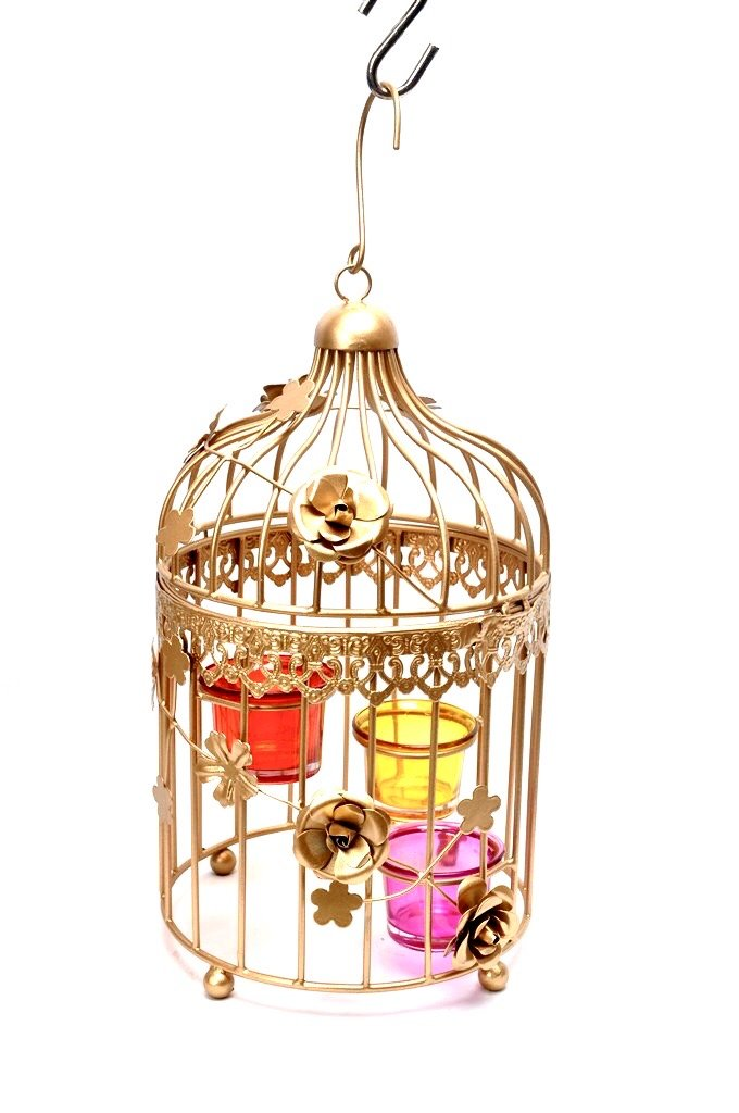Decorative Cage Style Candle Holder Hanging With Glass Tamrapatra
