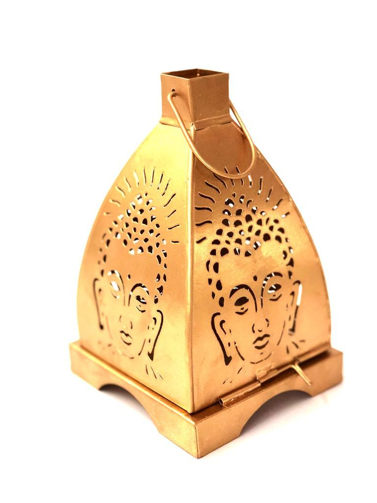 Buddha Shadow Tea Light Hanging Metal Lantern Tamrapatra - Tanariri Hastakala