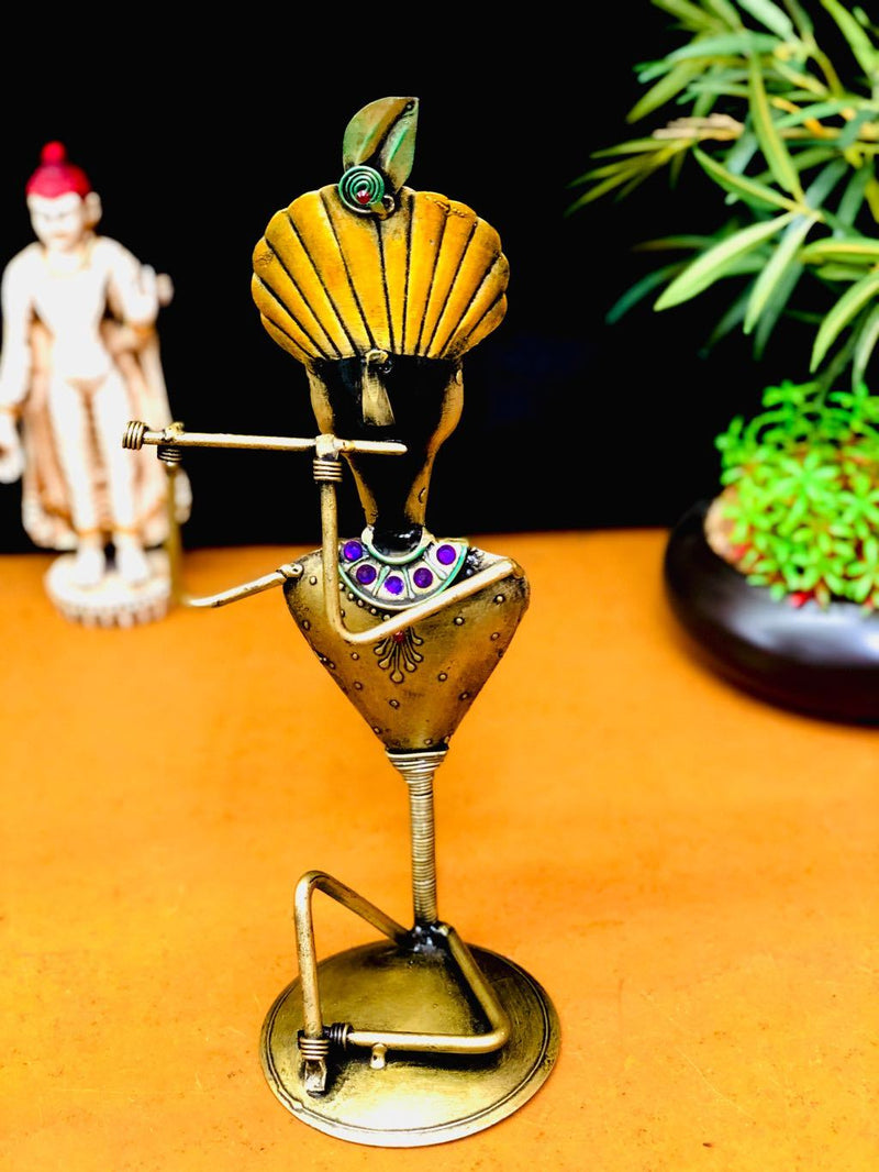 Excellent Build Metal Lord Krishna In Musical Theme Decor Gift Tamrapatra - Tanariri Hastakala