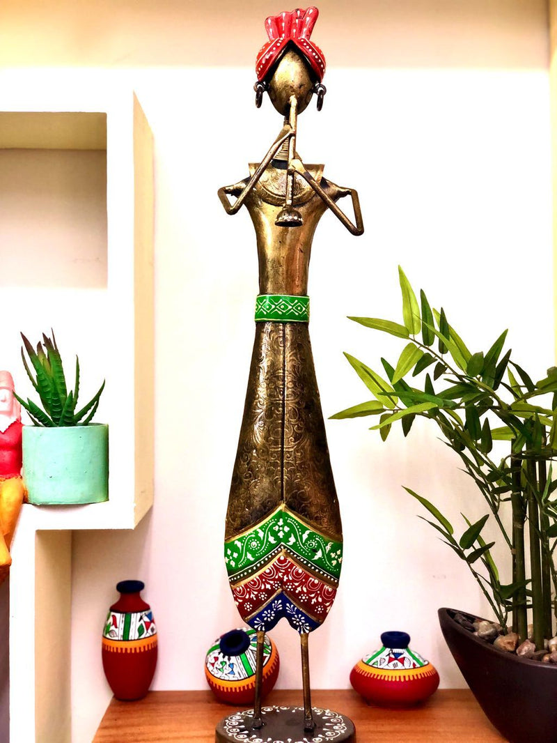 Premium Metal Showpiece Indian Musician Attractive Showpiece Tamrapatra - Tanariri Hastakala