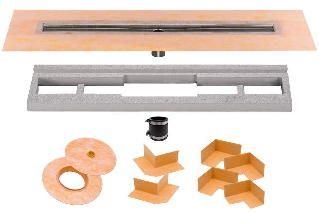 SCHLUTER KERDI-LINE CENTER OUTLET CHANNEL BODY STAINLESS STEEL KIT