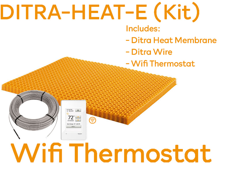 SCHLUTER DITRA-HEAT KIT includes MATT + 120V CABLE + Programmable Wi-Fi thermostat for the DITRA-HEAT system