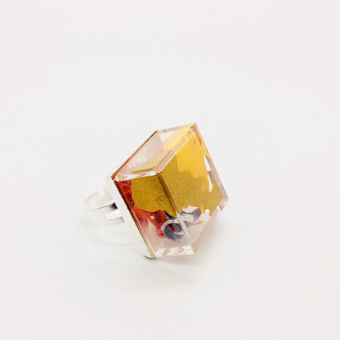 All Node Art Rings are feather light and adjustable! Want it in alternate colors? Let the artist know.  This Clear Node Art Ring is hand painted with gold and yellow acrylic paint and constructed with extruded metal  as an art piece with multiple wearability options!!