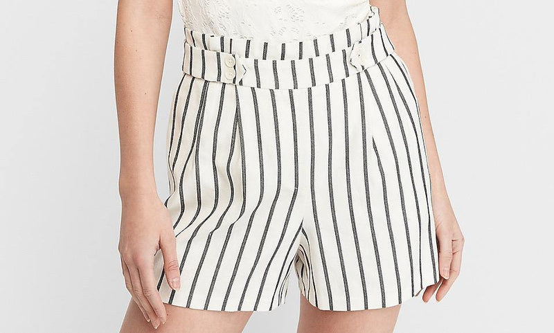 Express Super High Waisted Striped Linen Blend Shorts