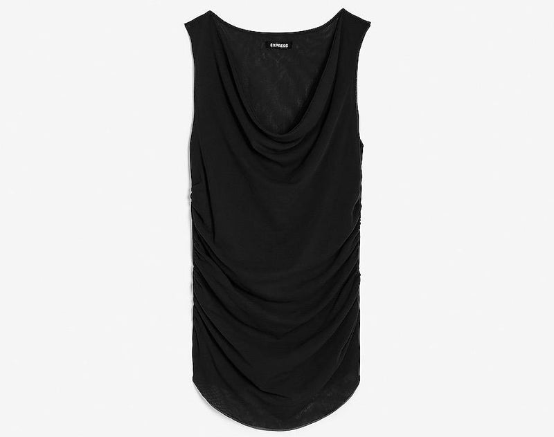 Express Mesh Cowl Neck Tunic Tank