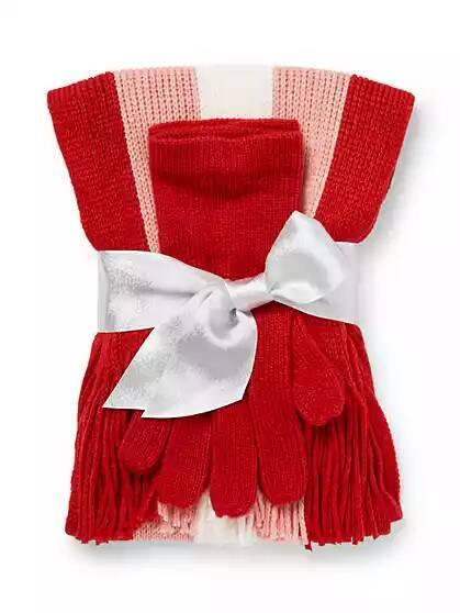 New York & company 2 Piece Striped Gloves & Scarf Set - Coco Red