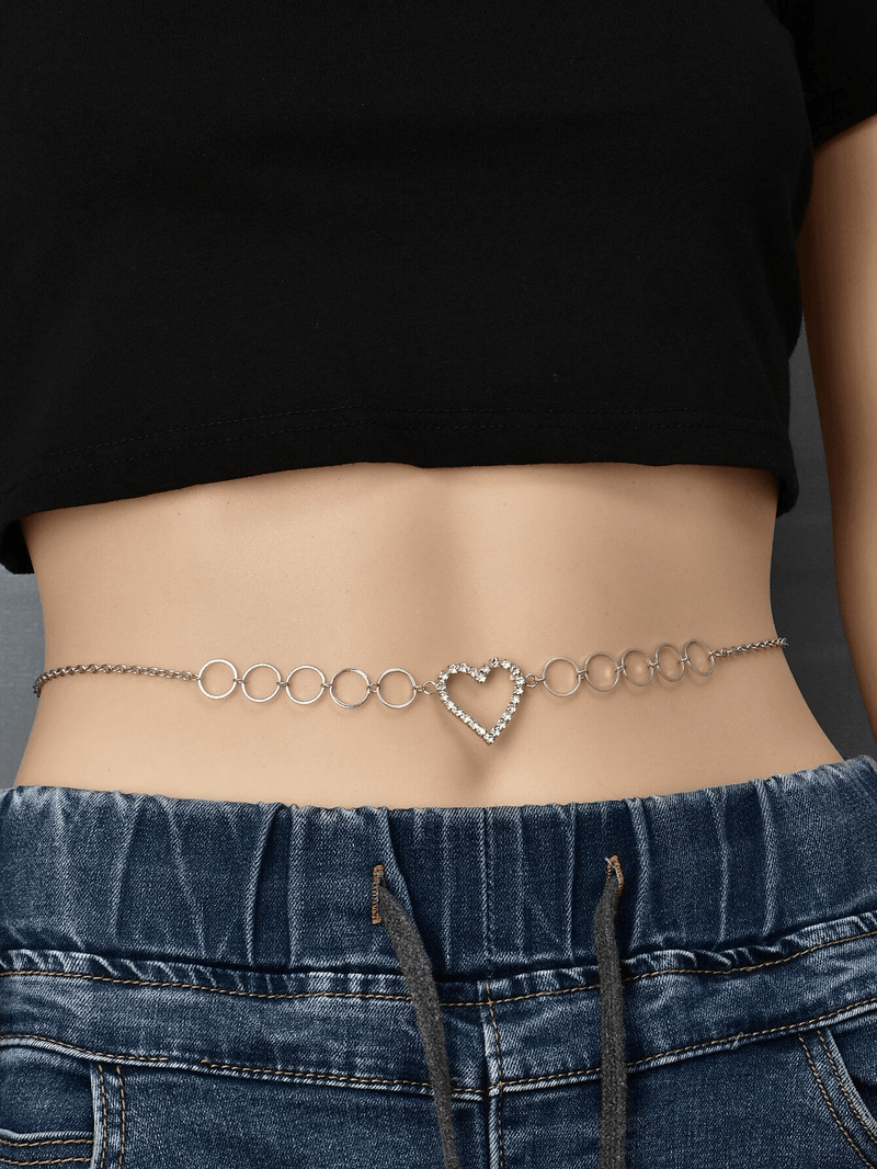 Rhinestone Heart Decor Waist Chain