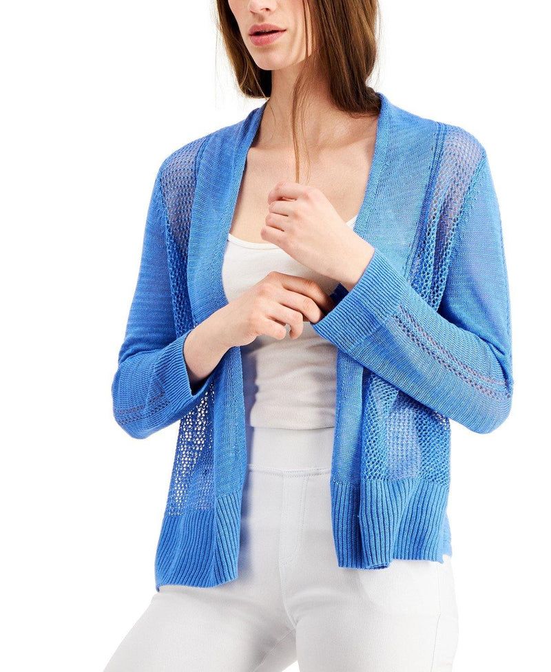 Mixed Stitched Open Front Linen Blend Cardigan