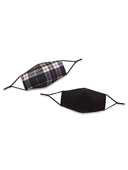 NY & Co 2- Piece Face Mask Set - Plaid Print & Solid Black Face Mask