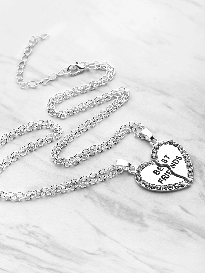 Rhinestone Trim Heart Shaped Friendship Necklace