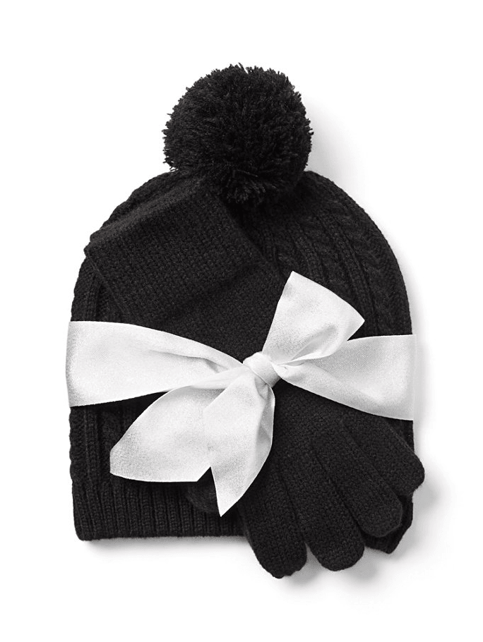 New York & company 2 Piece Cable Knit Hat & Gloves Set - Black