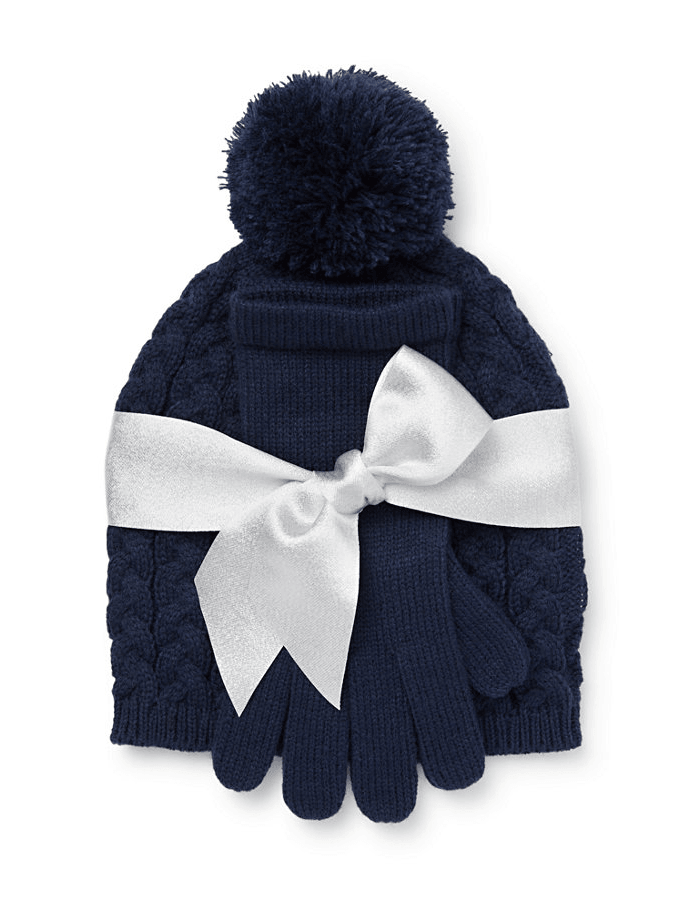 New York & company 2 Piece Cable Knit Hat & Gloves Set - Grand Sapphire