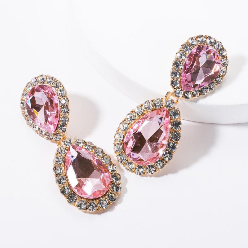 Roytastic Rhinestone Earrings - Pink