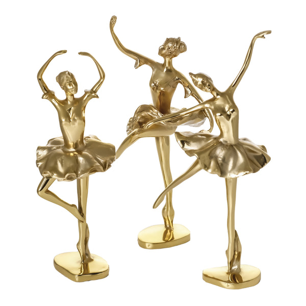 3 Piece Ballerina Bronze Dancing Girl 100% Bronze Handmade